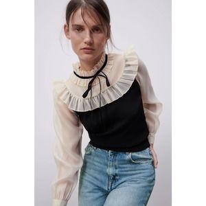 Zara Contrasting Organza Sweater Ribbon Tie Ruffle